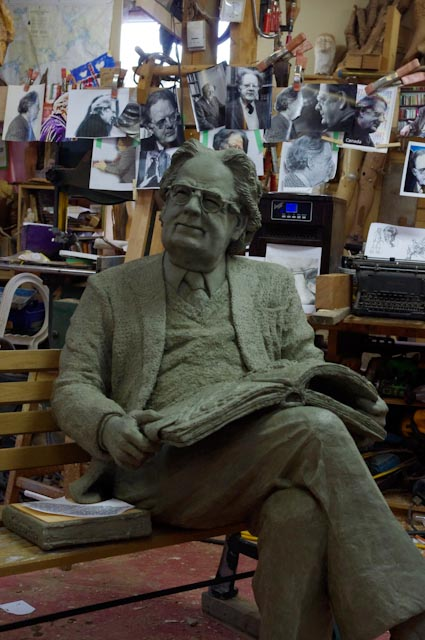 Northrop Frye sculpture in clay