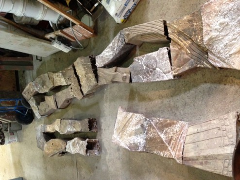 bronze sections ready to be welded together